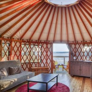 Extra Cozy Yurt Interior near the water